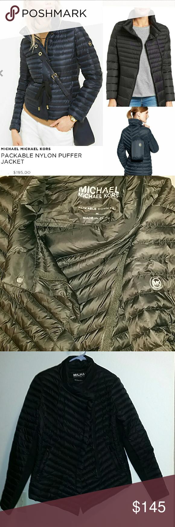 Mk Down Black Puffer Coat Michael Kors M Packable Black Puffer Coat Black Puffer Puffer Coat [ 1740 x 580 Pixel ]
