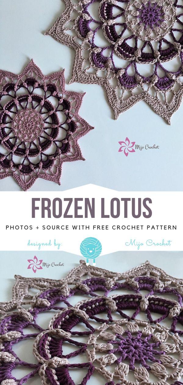 Frozen Lotus Free Crochet Pattern #crochetmandalapattern