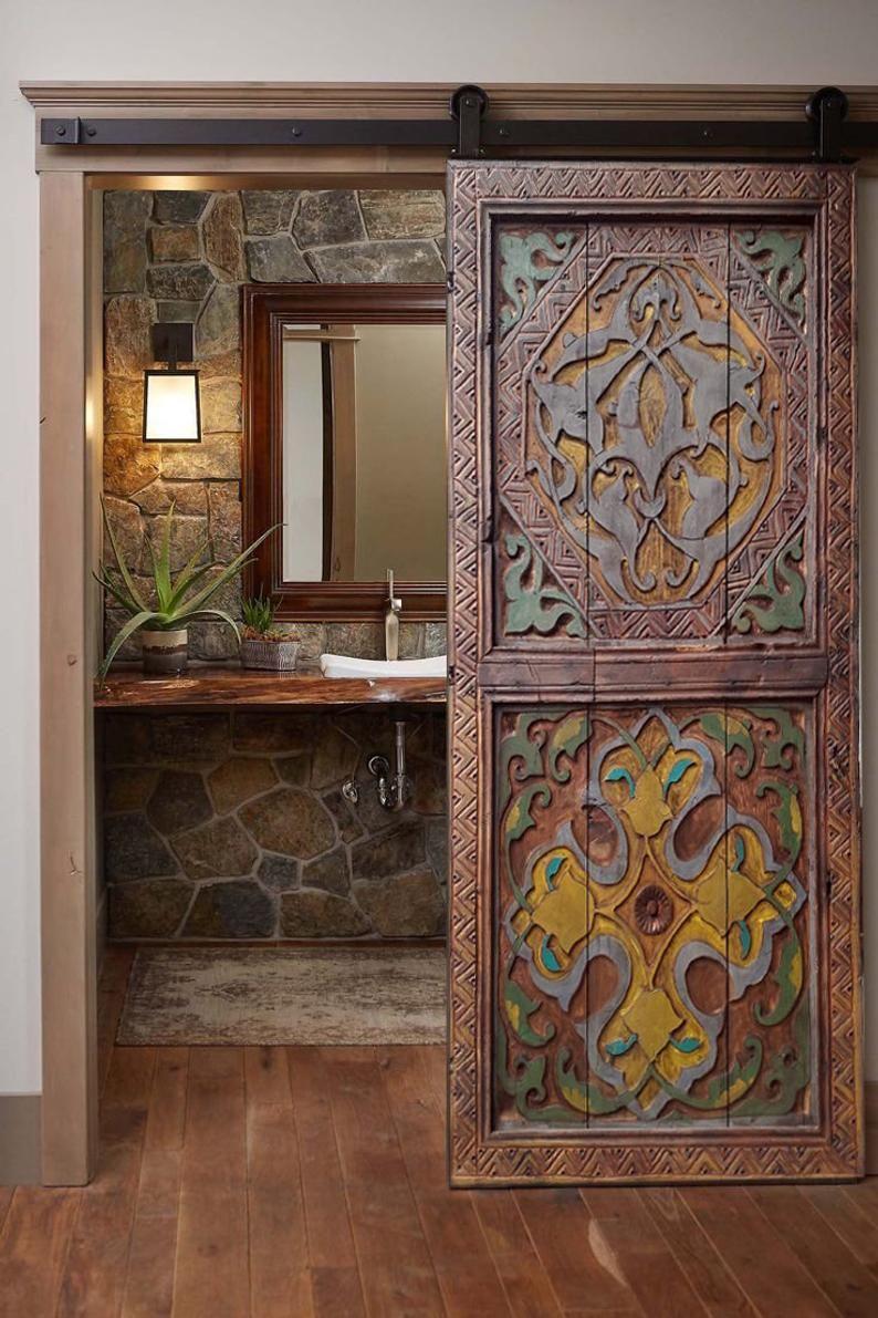 Hand Carved Entry Front Door, Antique Barn Door, D