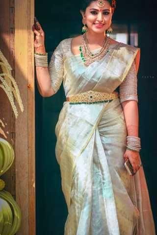 Dull White Shade Chennai Silk Festive Saree - CS71 ...