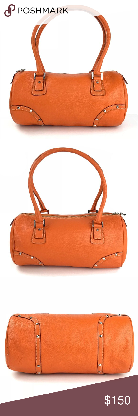 Burberry Orange Pebbled Leather Barrel Satchel This listing features an  authentic Burberry satchel in good pre-owned condition Measurements Size   6