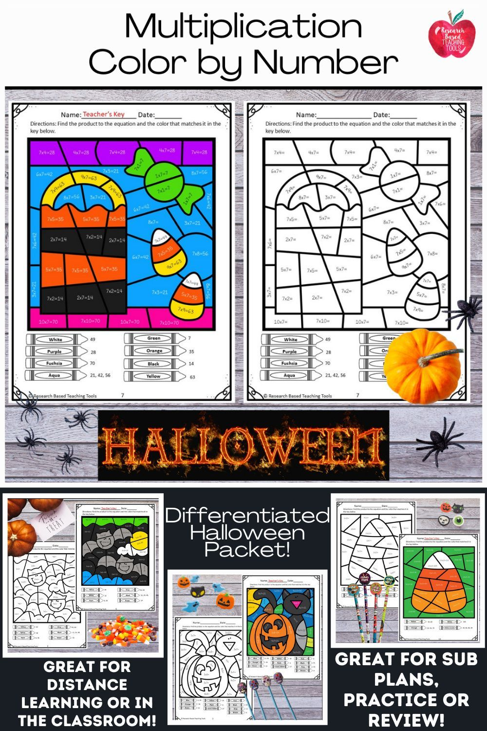 Halloween 2020 Color Grade Halloween Math Multiplication Color by Number in 2020 | Halloween