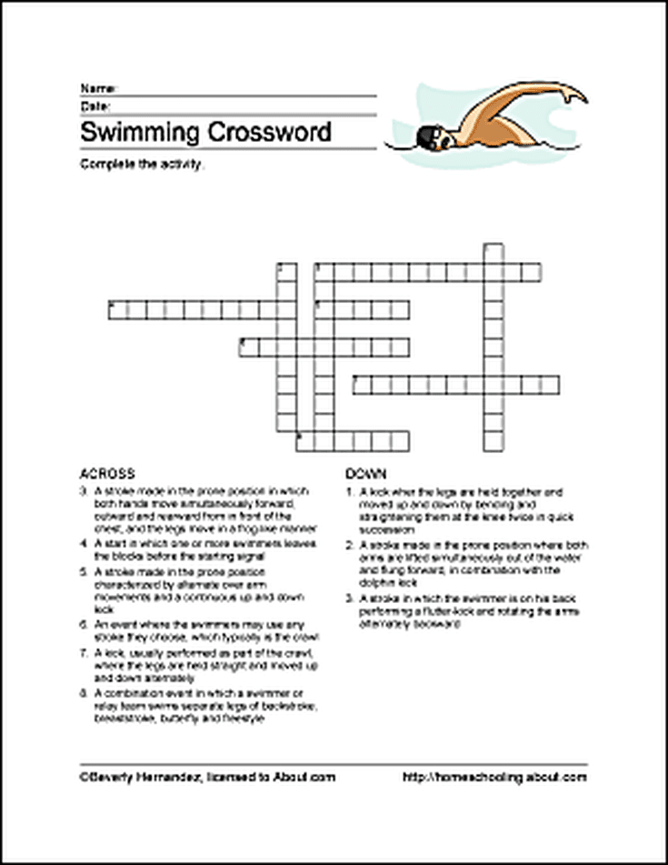 Swimming Word Search Crossword Puzzle And More Swimming Crossword Swim Lessons