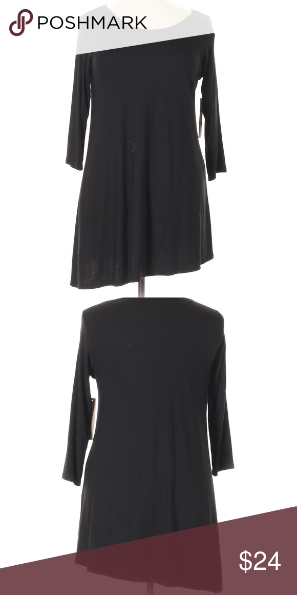 Joan vass black casual dress  plus size brand new short scoop neckline sleeves solid approx also boutique in my posh rh pinterest