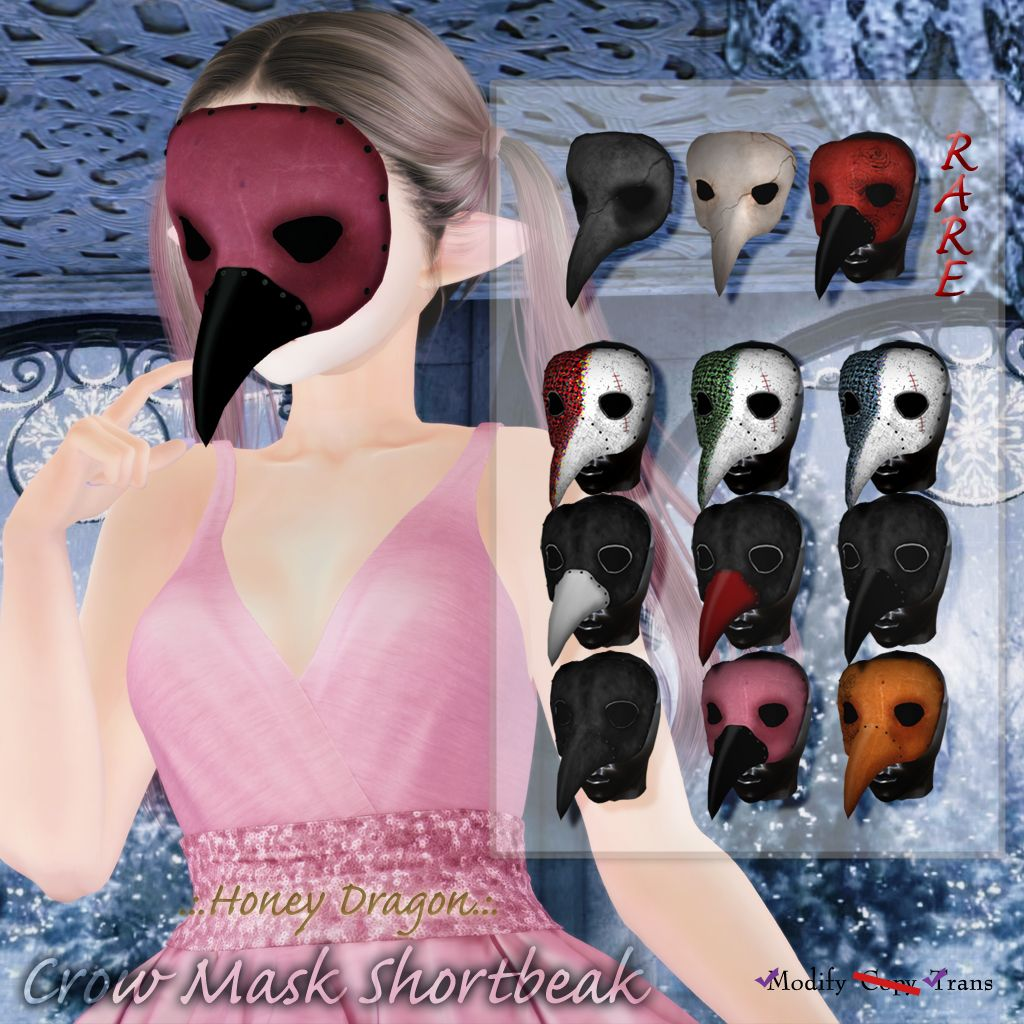 Gacha Crow Mask Shortbeak in 2020 Crow mask, Crow, Mask