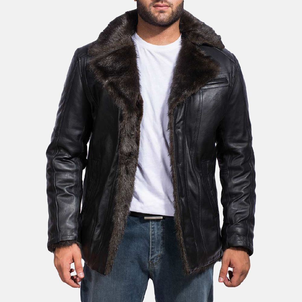Furcliff Black Leather Coat Mens leather coats, Leather