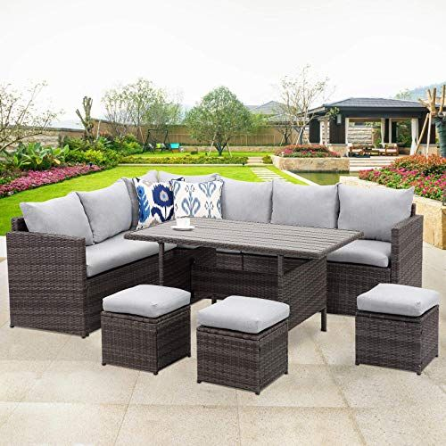 New Wisteria Lane Patio Furniture Set,7 PCS Outdoor Conversation Set All Weather Wicker Sectional Sofa Couch Dining Table Chair Ottoman,Grey online - Bestsellersoutfits