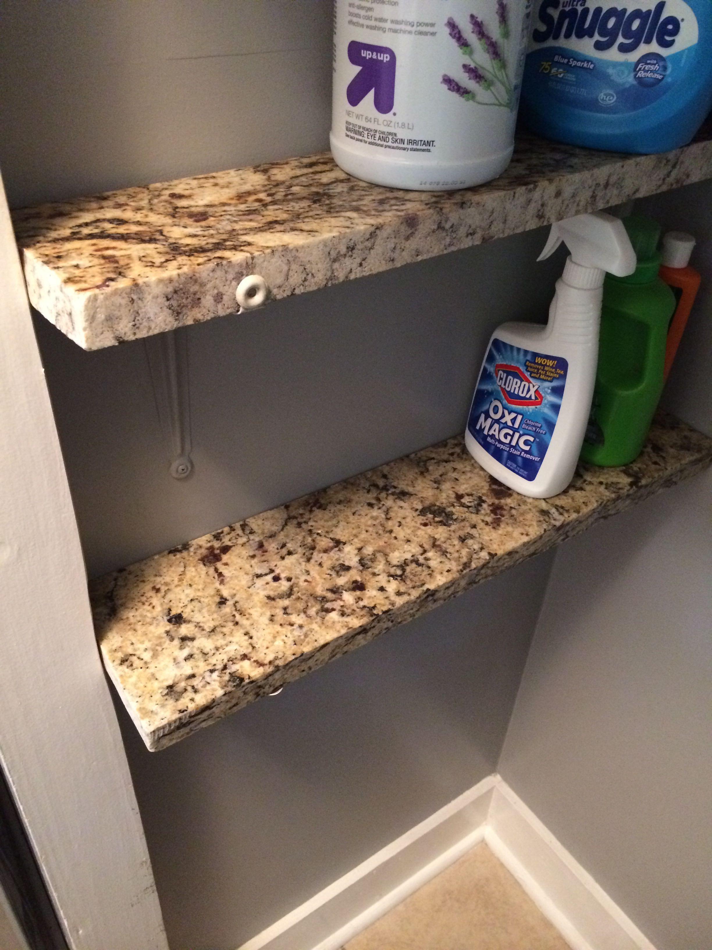 granite shelves in my laundry room from leftover granite scraps