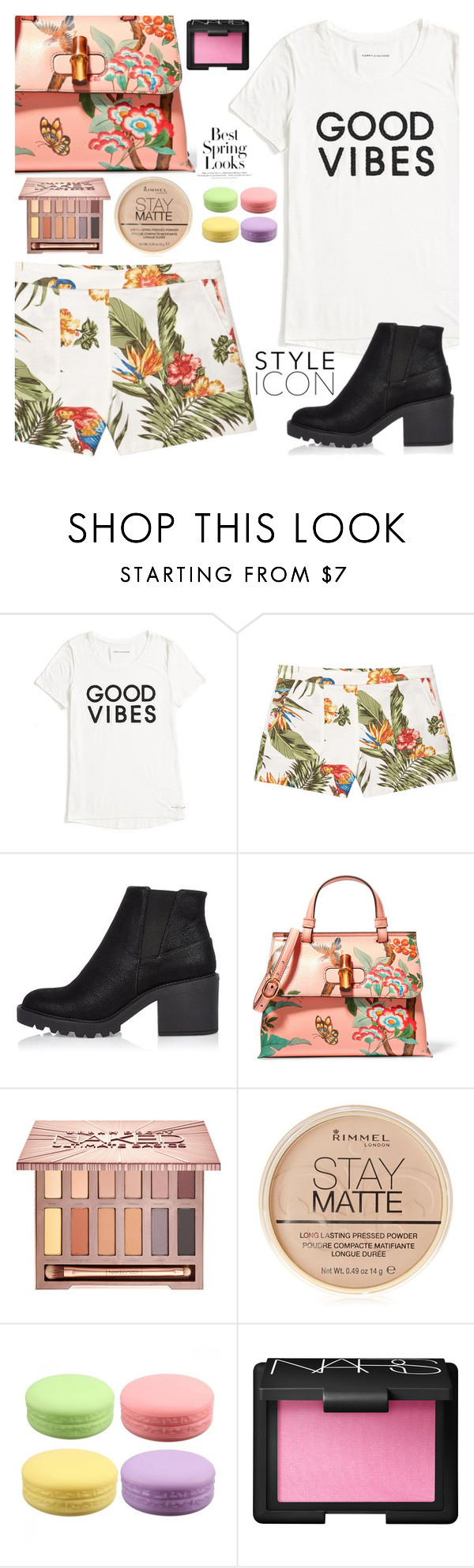 """Good Vibes"" by mirmir-825 ❤ liked on Polyvore featuring Tommy Hilfiger, MANGO, River Island, Gucci, Urban Decay, Rimmel, NARS Cosmetics, H&M, Boots and Floralshorts"