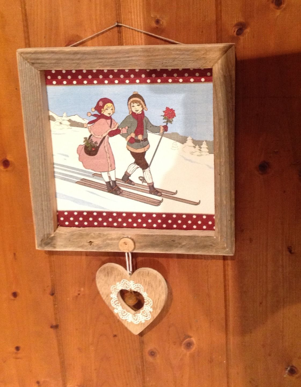 tableau d co montagne style chalet l 39 hiver au ski sur les pentes d corations murales par. Black Bedroom Furniture Sets. Home Design Ideas