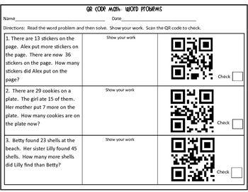 QR Code Math Word Problems-2nd Grade | Marvelous Math | Math
