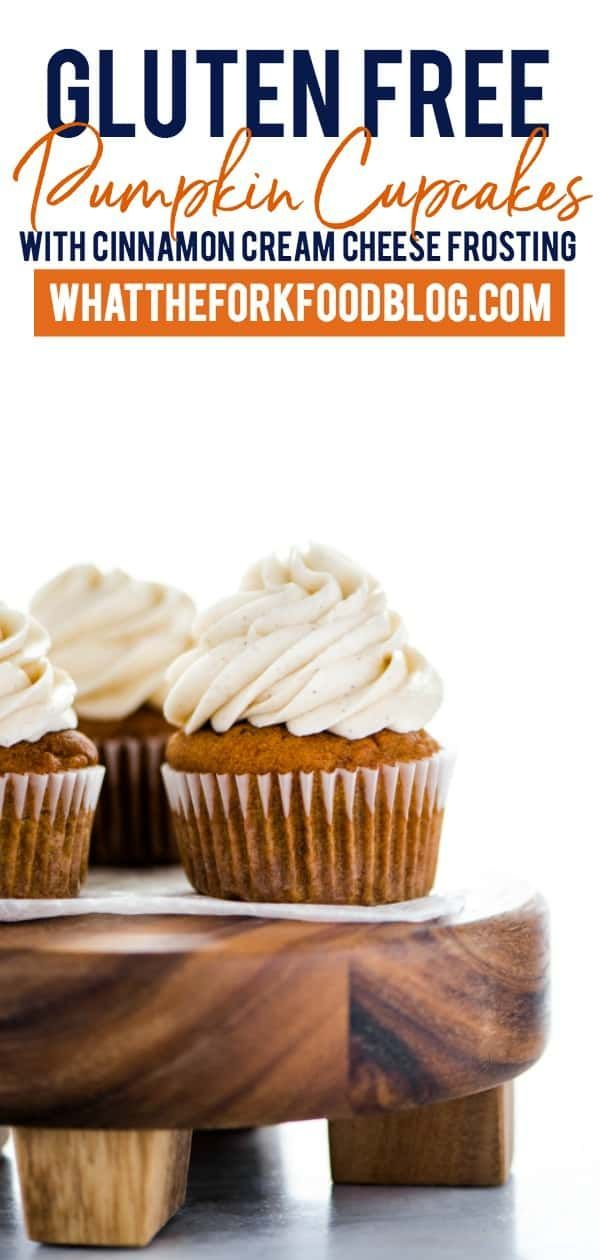 Free Pumpkin Cupcakes with Cinnamon Cream Cheese Frosting A classic fall dessert - gluten free pumpkin cupcakes! These are topped with an irresistible cinnamon cream cheese frosting. This easy cupcake recipe makes exactly one dozen with plenty of frosting for piping. Great for Halloween or T