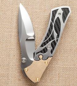"Dew Hara Custom Shi Liner Lock Knife Bronzed/CF (3.75"" Mirror) Japan - Blade HQ"