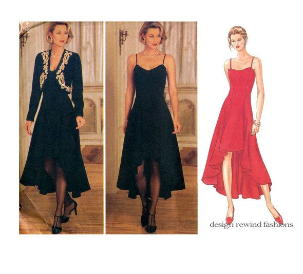 Sexy EVENING GOWN PATTERN Hi Low High Low Dress & Jacket Butterick ...