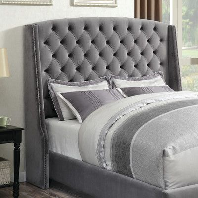 House of Hampton Hollie Upholstered Wingback Headboard Size ...