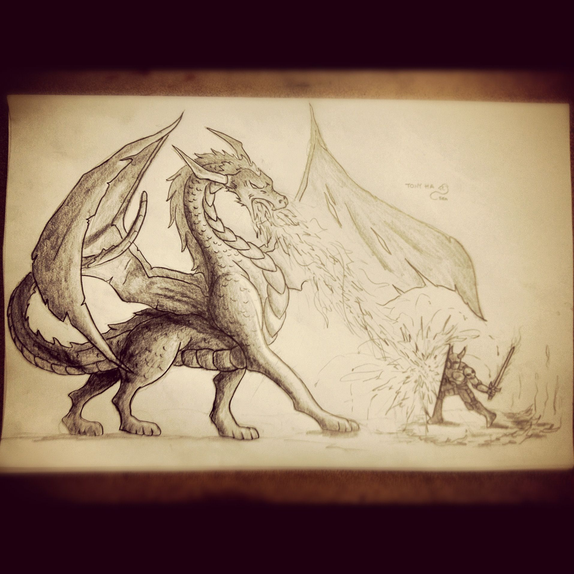 Pencil sketch of dragon vs knight learn to draw pencil drawings art drawings