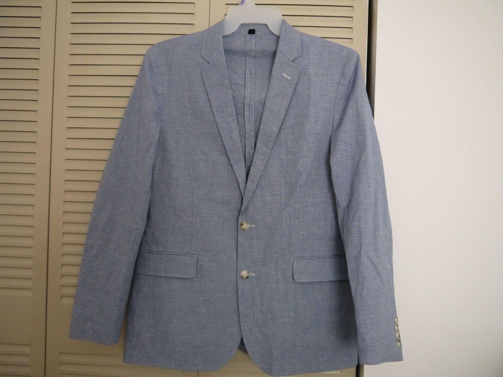 d27dfe19c645 J.Crew Unstructured Ludlow Slim-fit cotton-linen blazer in blue houndstooth  40R