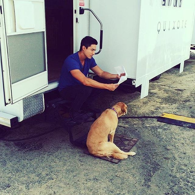 Early mornings...Mango helping dad with his lines. #danielhenneyofficial