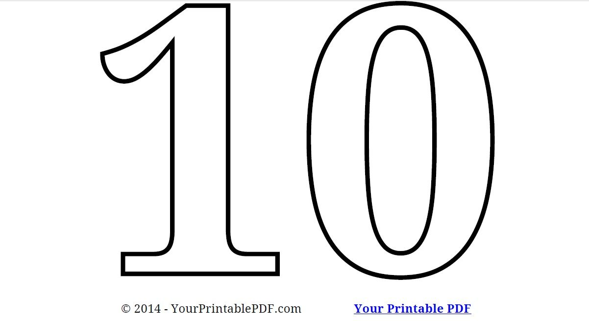 Printable Number 10 Coloring Page