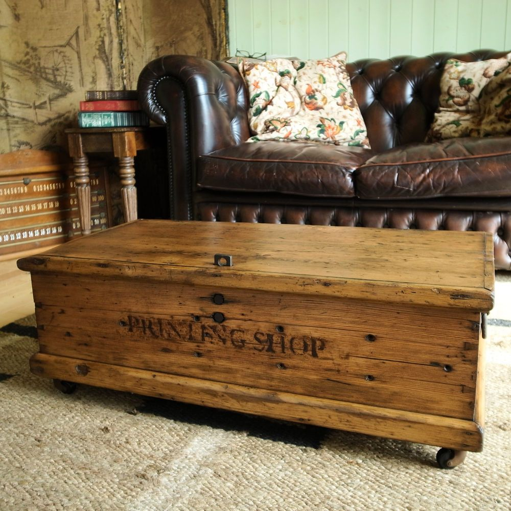 Traditional Pine Coffee Table: VINTAGE INDUSTRIAL CHEST Storage Trunk COFFEE TABLE Tool