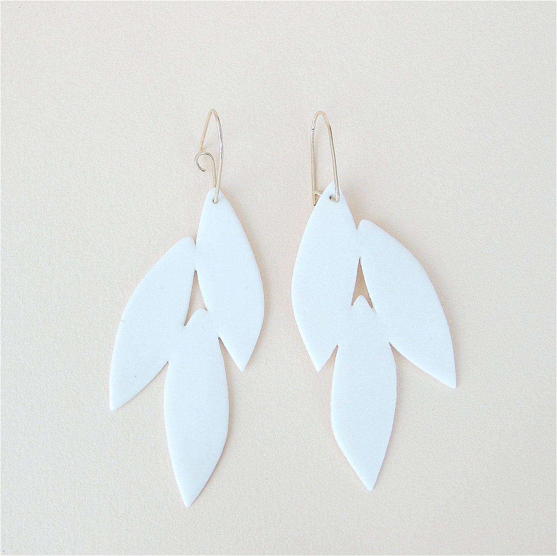 White Porcelain Leaves Earrings