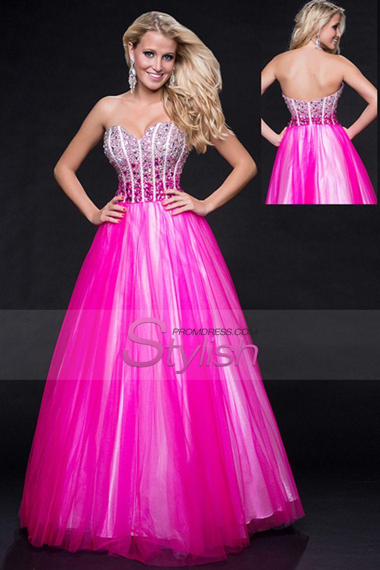 2015 A Line Sweetheart Prom Dresses Tulle Beaded Bodice Floor Length ...