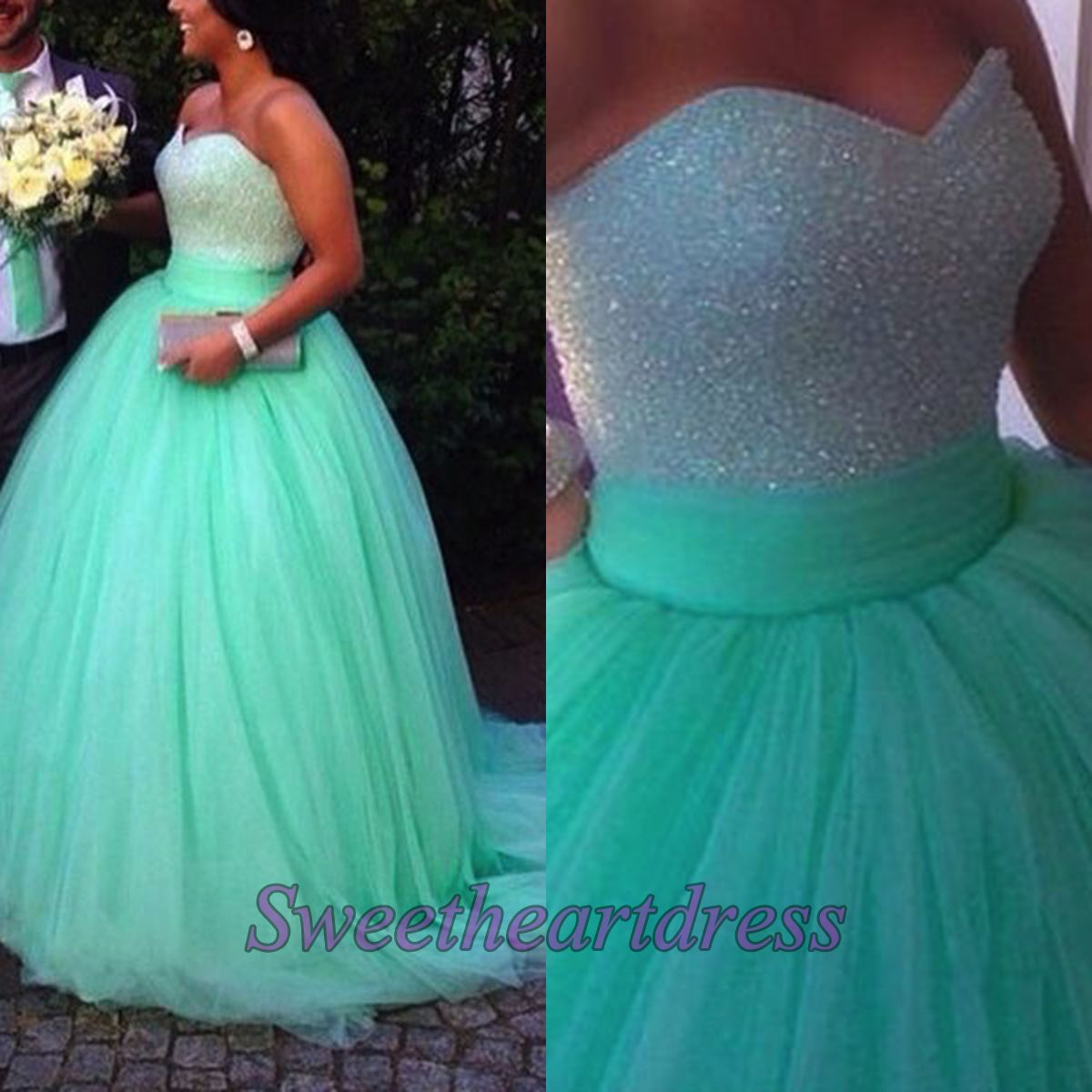 Sweetheart poofy prom dress teal ball gown strapless tulle
