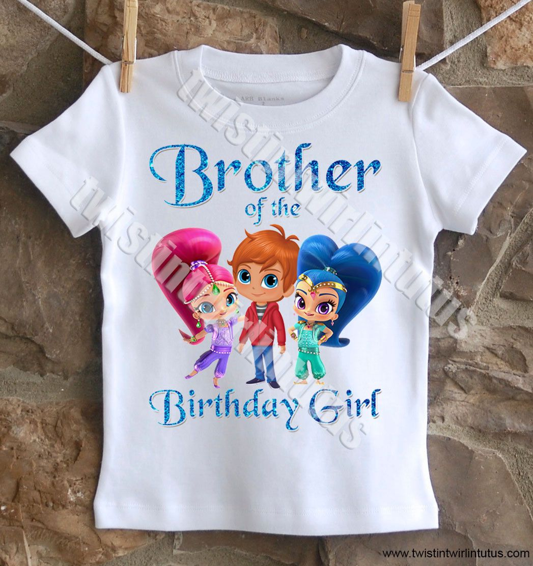 Shimmer and Shine Brother shirt | Shimmer and Shine Birthday Ideas | Shimmer and Shine Birthday Party | Shimmer and Shine Birthday Shirts | Shimmer and Shine Family Birthday Shirts | Birthday Party Ideas for Girls | Twistin Twirlin Tutus #shimmerandshinebirthday