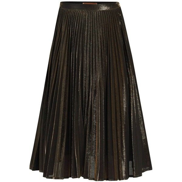 Jolie Moi Metallic Pleated A-line Skirt, Black/Gold ($97) ❤ liked on Polyvore featuring skirts, a line midi skirt, evening skirts, mid calf skirts, knee length pleated skirt and gold pleated skirt