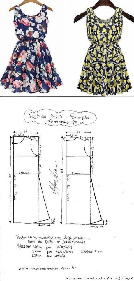 Выкройка простого летнего платья (Шитье и крой)   Журнал Вдохновение ...
