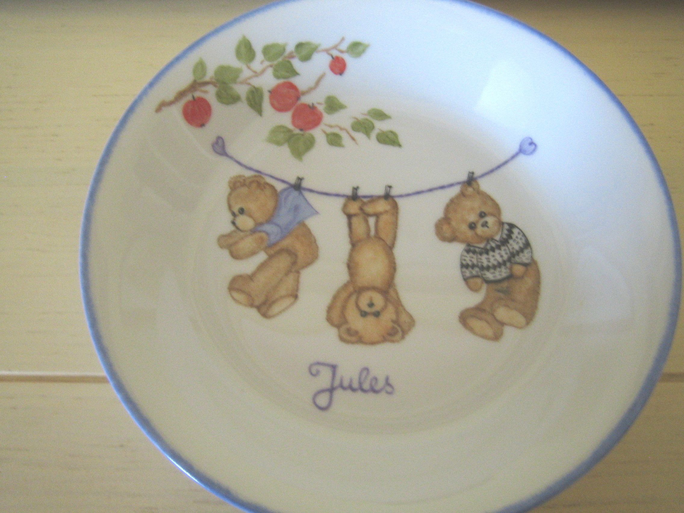 Peinture Sur Porcelaine Assiette lin van art – enfants newborn baby present porcelain