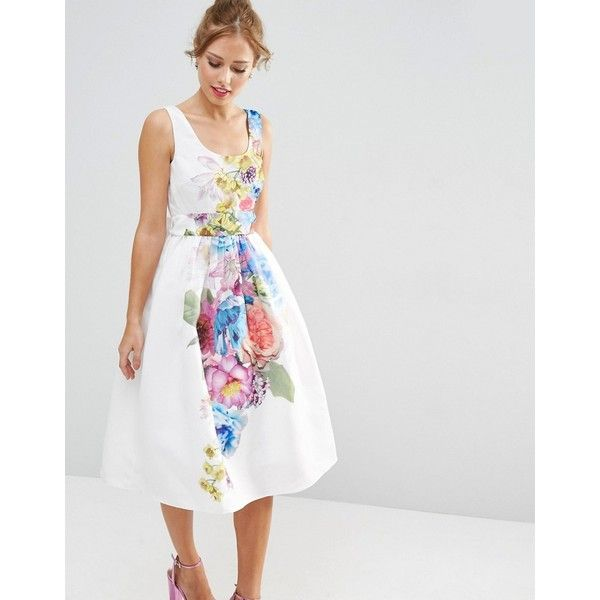 ASOS SALON Beautiful Floral Placed Midi Prom Dress ($125) ❤ liked on Polyvore featuring dresses, multi, asos dresses, floral prom dresses, scoop neck prom dress, white dress and calf length dresses