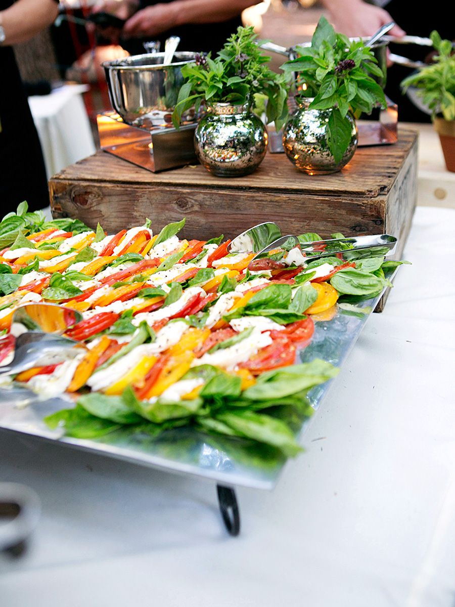 caprese salad station idea for wedding reception food | wedding food
