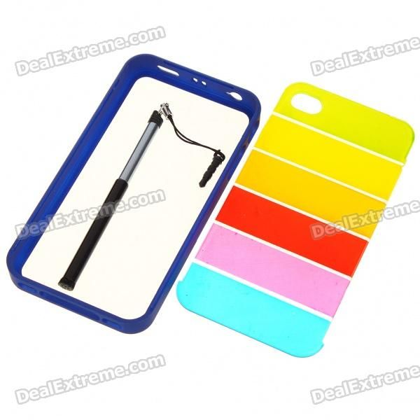 Protective Rainbow Style PC Backside Case with Stylus for iPhone 4 - Blue  Price: $3.20