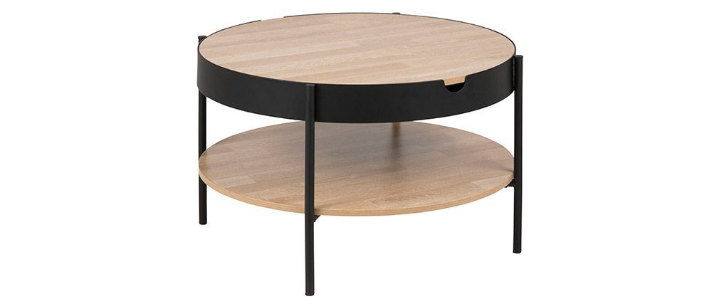 Table Basse Ronde Placage Bois Et Metal Noir D75 Cm Suzie Miliboo Table Basse Bois Table Basse Bois Metal Table Basse