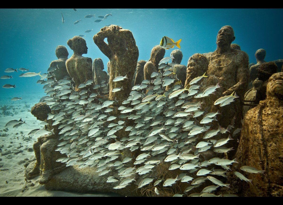 The Cancun Underwater Museum, located off the coast of Isla Mujeres, has more than 400 sculptures by artist Jason de Caires Taylor.  Another 60 pieces are scheduled to be added this July, including the world's first kinetic underwater sculpture, which incorporates living fan coral.