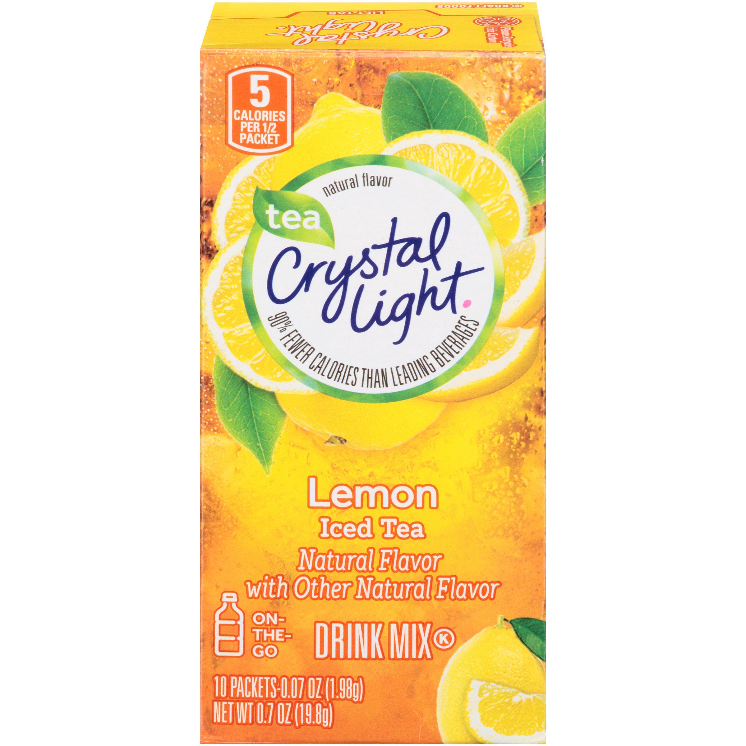 Crystal Light On The Go Drink Mix Iced Tea Natural Lemon 10 0 07 Oz 1 98 G Packets 0 7 Oz 19 8 G Peach Ice Tea Drinking Tea Mixed Drinks