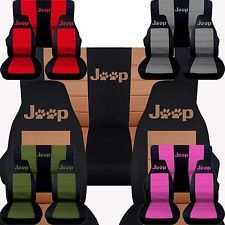 CC Jeep Wrangler Front Rear Car Seat Covers Cotton Combo Paw Prints 87
