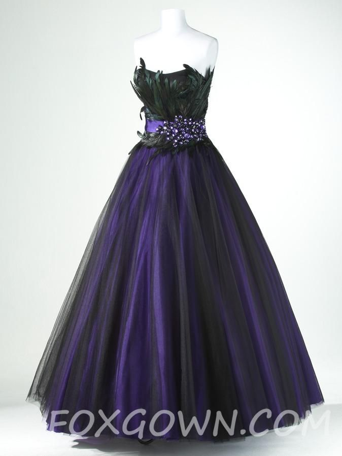 Purple And Black Wedding Dresses Purple Black A Line Tulle Prom