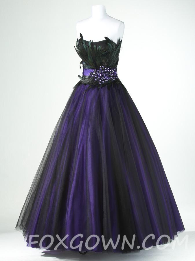 Purple and Black Wedding Dresses | purple black a line tulle prom ...
