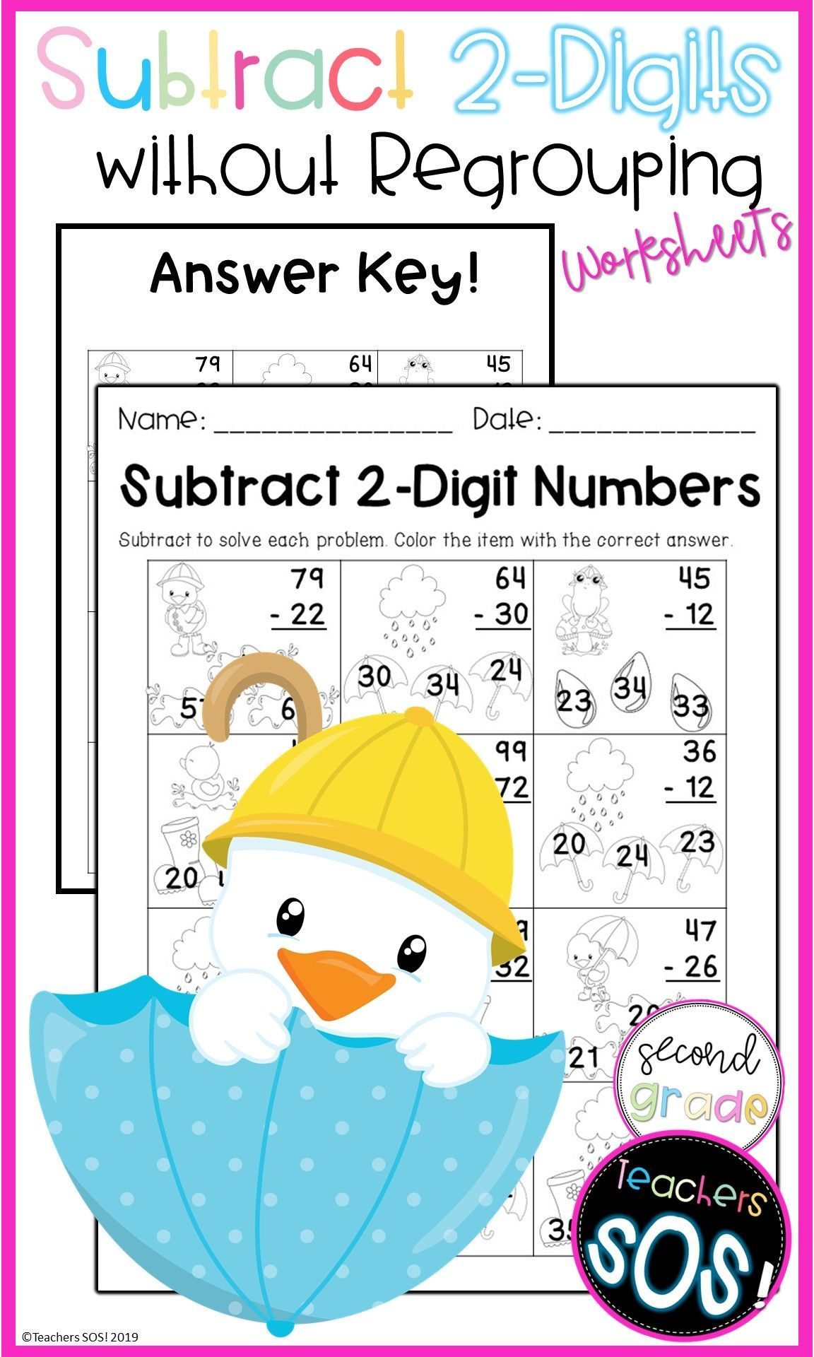 Subtract Two Digit Numbers 15 Worksheet Packet In