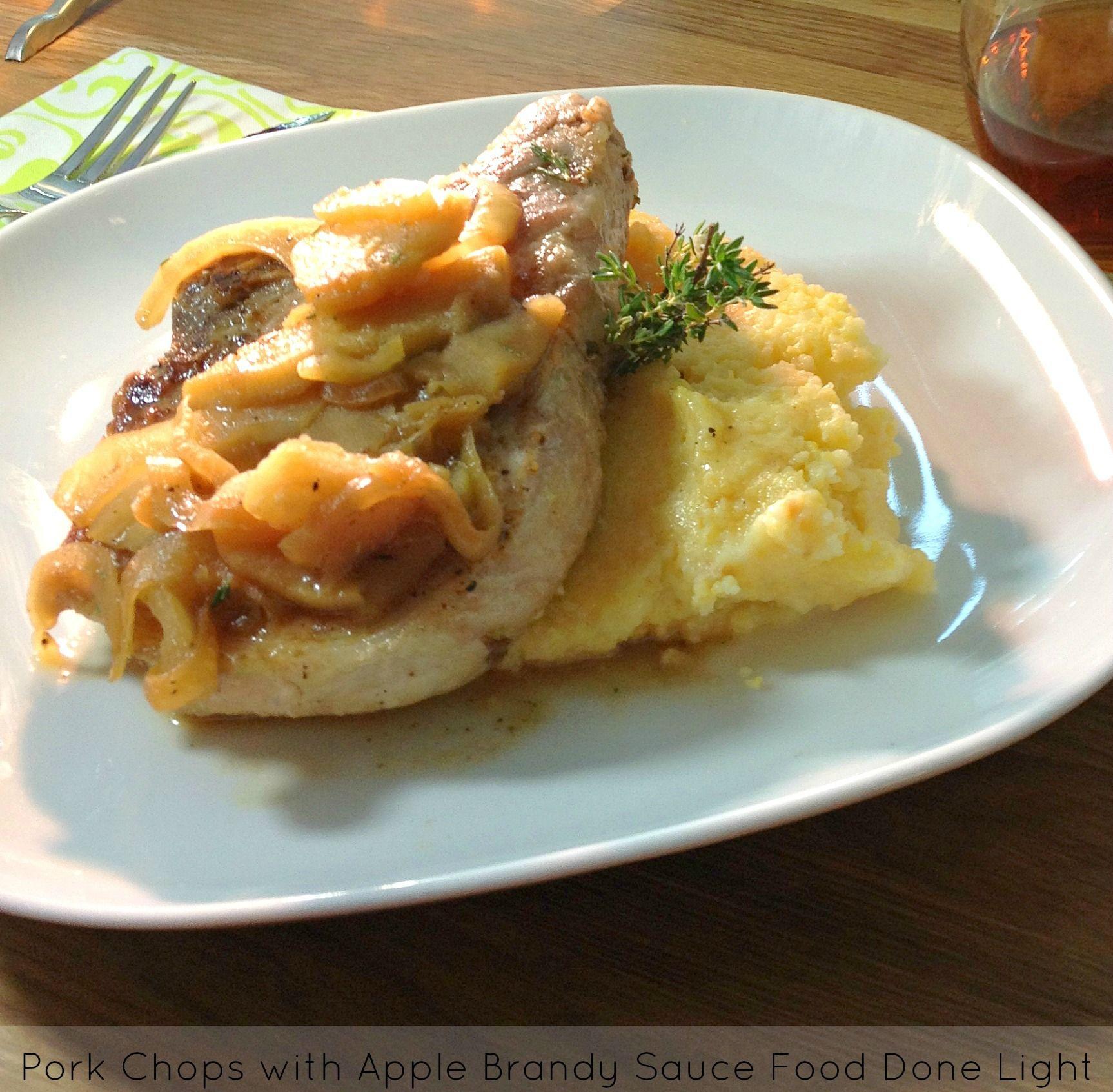 Pork Chops with Apple Brandy Sauce www.fooddonelight.com #porkrecipe #applerecipe #skilletdinner