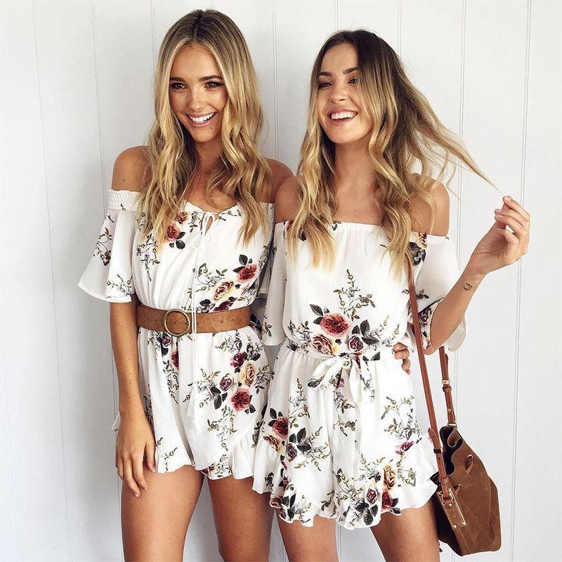 UK Womens Off Shoulder Floral Playsuit Summer Beach Romper Tassels Mini Jumpsuit