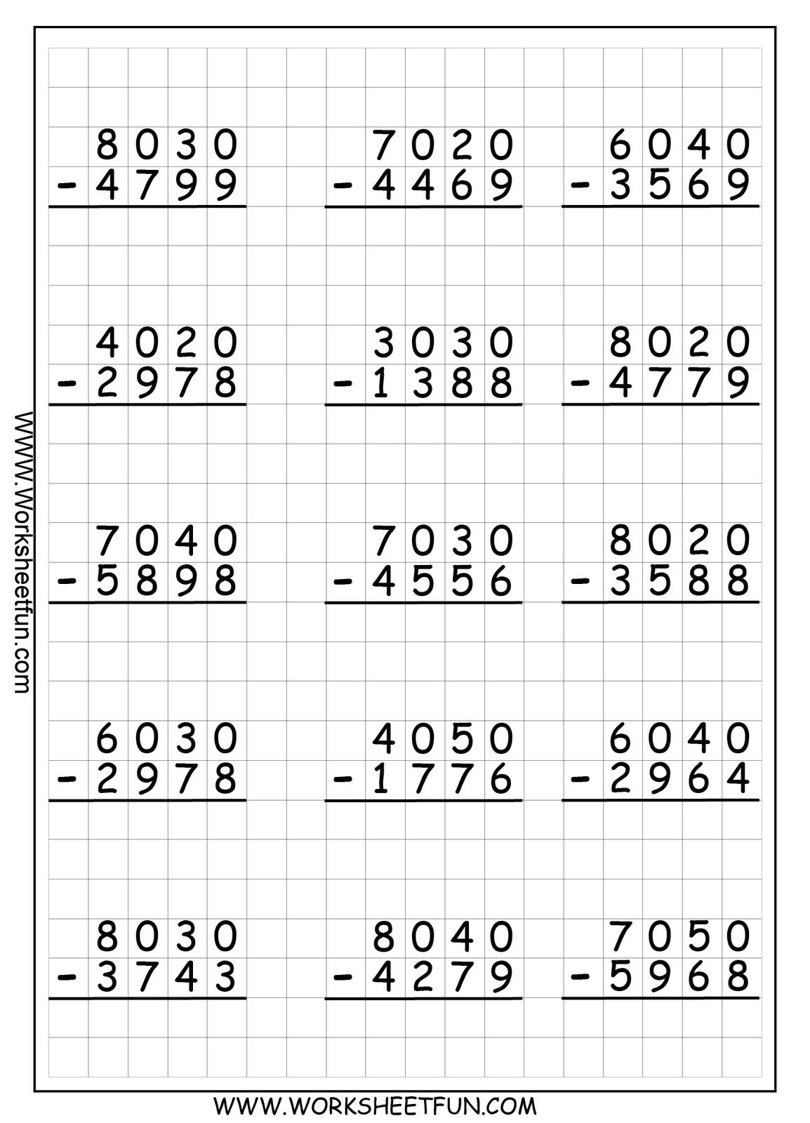 Tablas 4 Digit Regrouping Subtraction