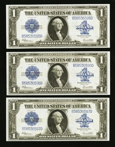 Fr. 237 $1 1923 Silver Certificates Three Consecutive Examples ...