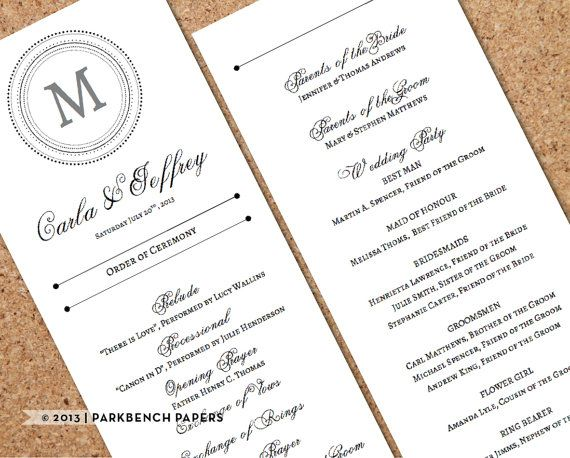 $9.00 at parkbenchpaperie.etsy.com | Wedding Program - Classic Monogram Style - DIY Editable Word Template, Instant Download, Printable, Edit your text & Print at Home