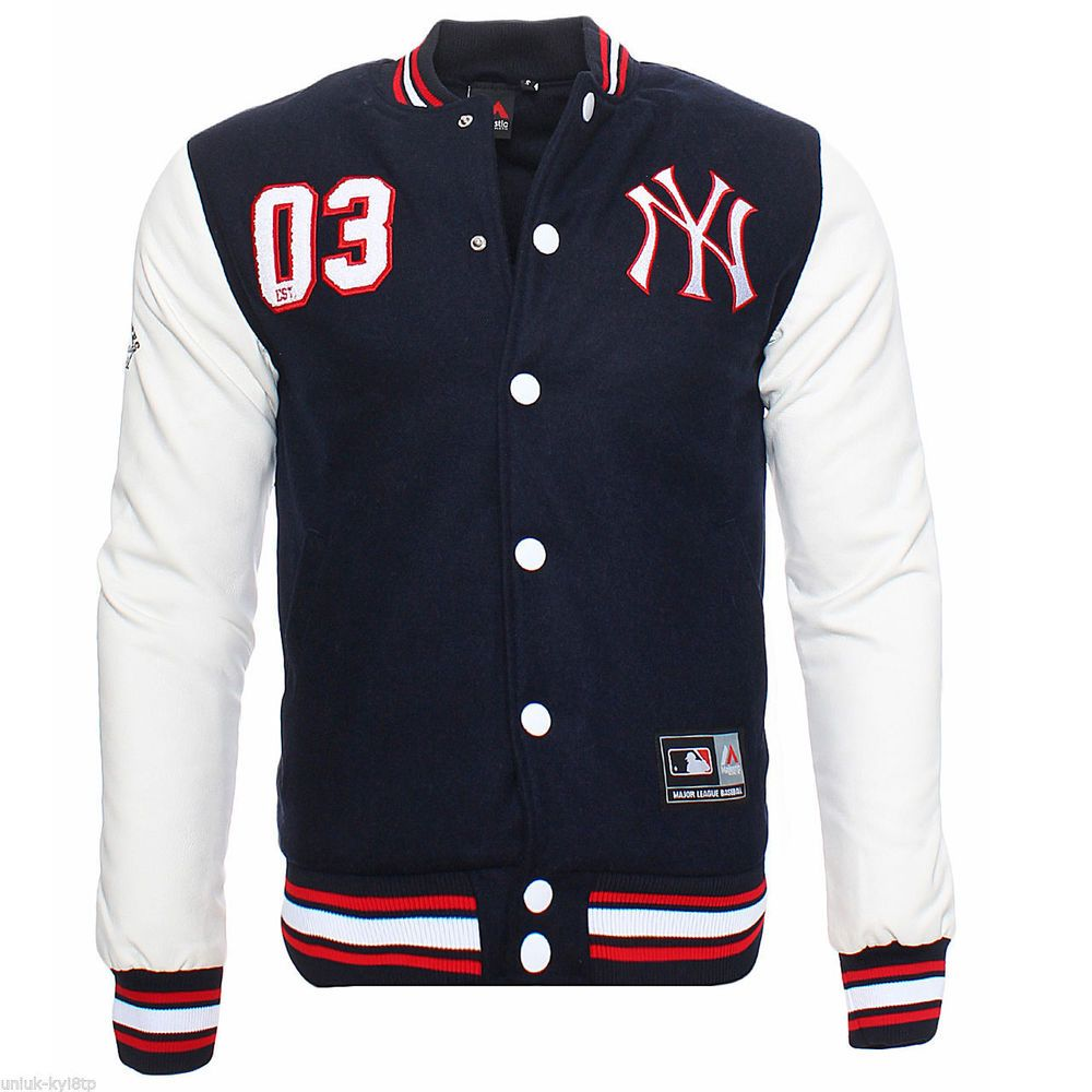 NWT New MAJESTIC Letterman NY Yankees Jacket Varsity Baseball Mens ...