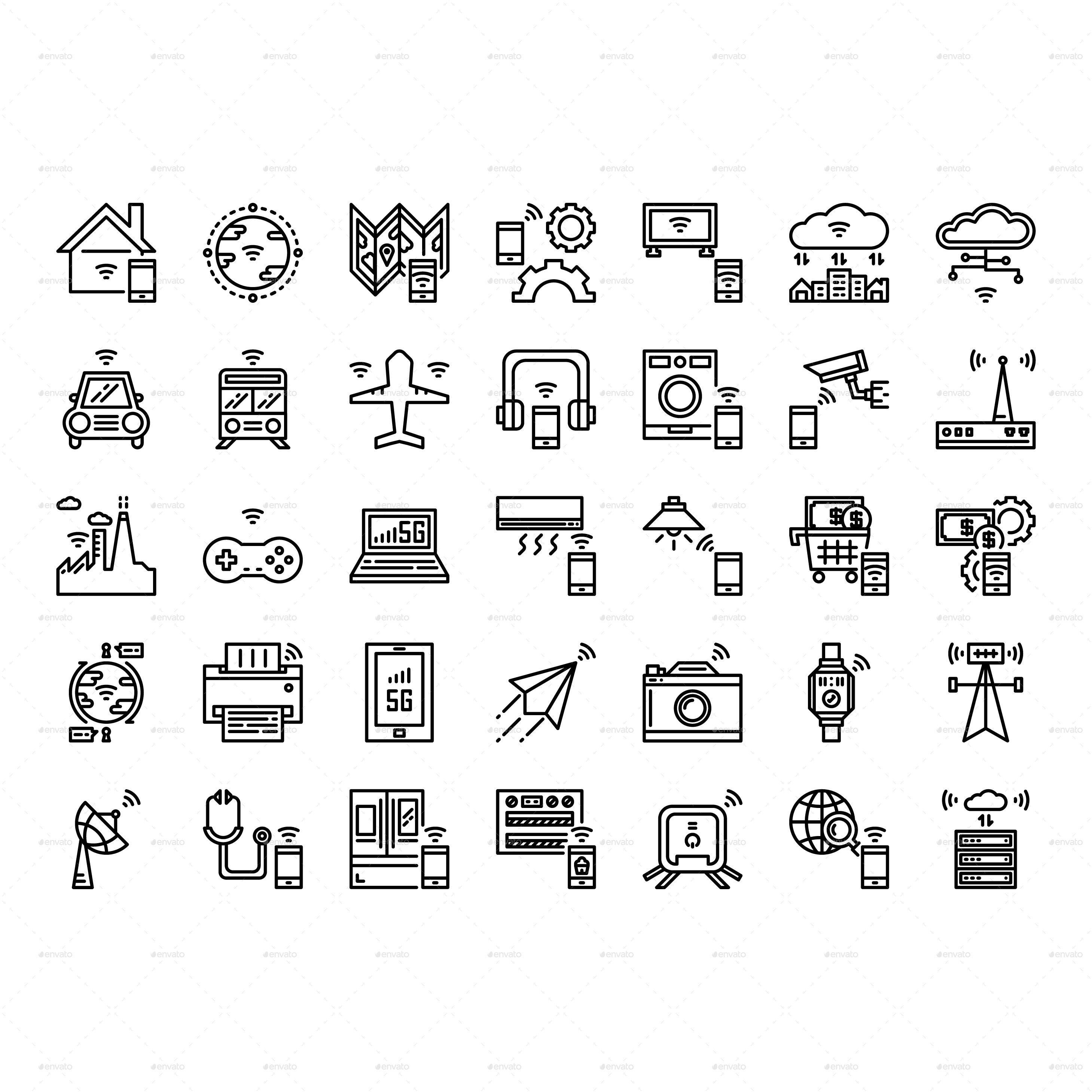Internet Of Things Icon Set In 2020 Icon Set Icon Brochure Inspiration