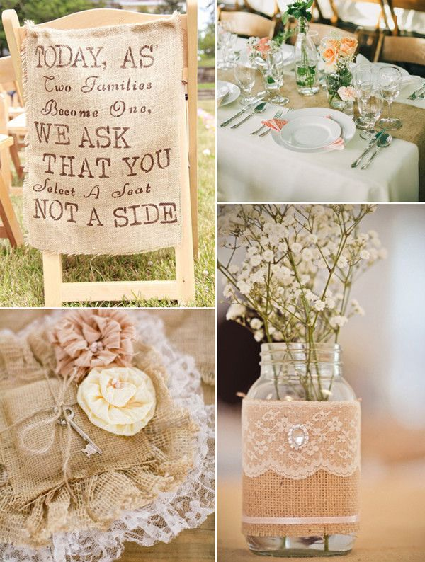 Perfect Rustic Chic Lace and Burlap Wedding Ideas and Supplies