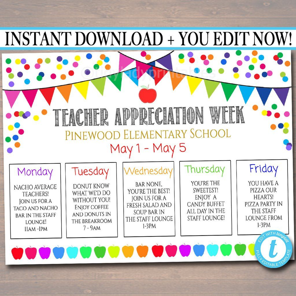 EDITABLE Teacher Appreciation Week Itinerary Poster, Digital File, Appreciation Week Schedule Events, INSTANT DOWNLOAD Fundraiser Printables #eceappreciationgiftideas